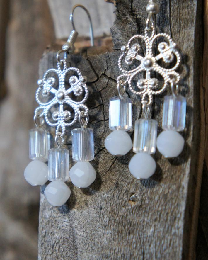 White and Clear Chandelier Style Earrings