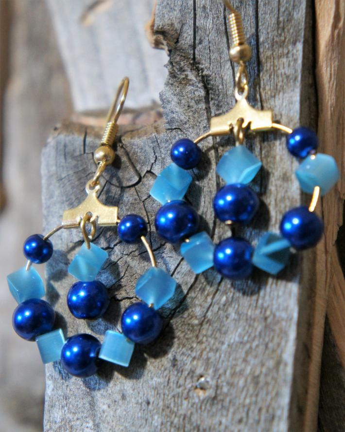 Light and Dark Blue Hoop Earrings