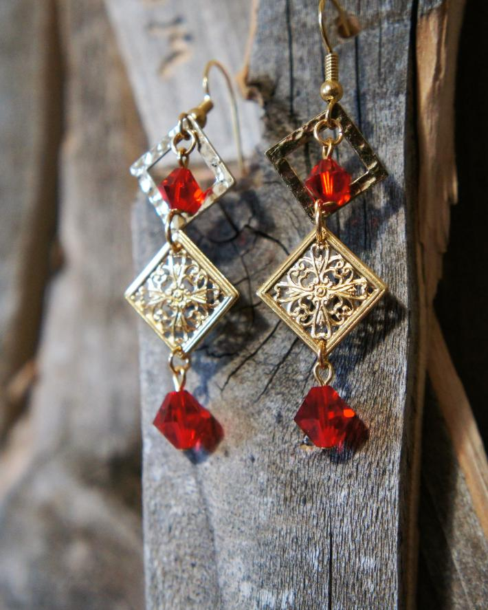 Red Swarovski and Gold Dangle Earrings