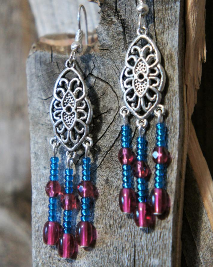 Fuschia and Blue Chandelier Style Earrings
