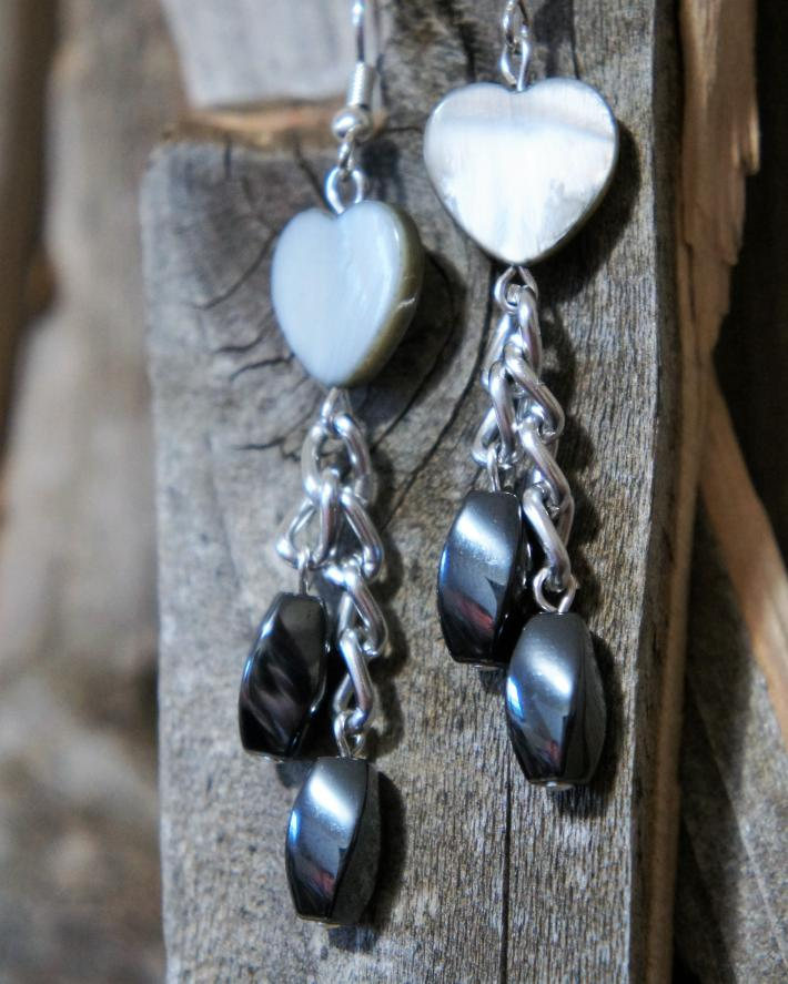 Heart Mother of Pearl and Hematite Chandelier Style Earrings