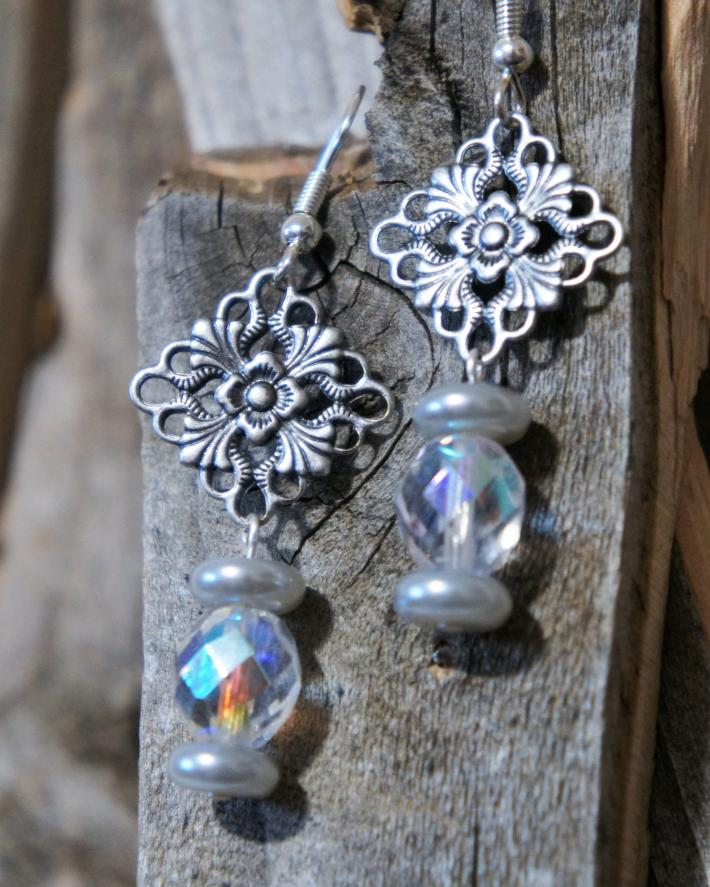 Silver Pearl and Clear Glass Chandelier Style Earrings
