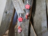 Coral dyed Mother of Pearl Chandelier Style Earrings