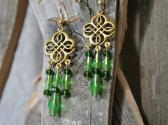 Green and Gold Chandelier Style Earrings