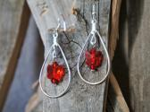 Light Siam Swarovski Crystal Dangle Earrings