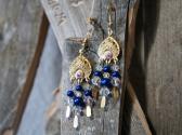 Blue Pearl and Clear Swarovski Chandelier Style Earrings