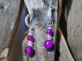 Purple Cracked Glass and Clear Swarovski Crystal Earring and Bracelet Set