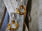 Brown Honey and Gold Beaded Hoop Earrings