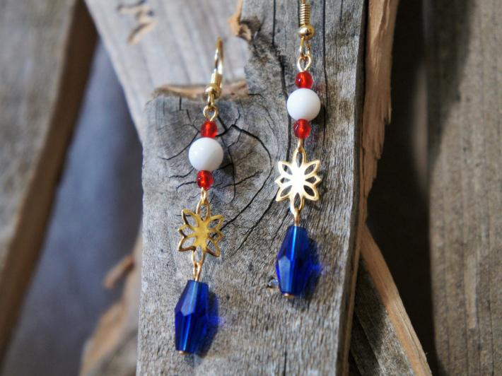 Red White and Blue Dangle Style Earrings