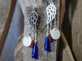 Red White and Blue Angel Wing Chandelier Style Earrings