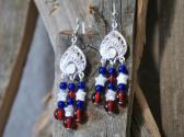 Red White and Blue Chandelier Style Earrings