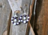 Purple and White Beaded Hoop Earrings