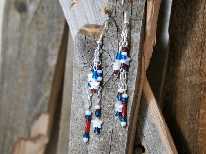 Red White and Blue Three Strand Dangle Style Earrings