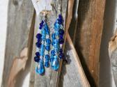 Triple Strand Blue Dangle Earrings