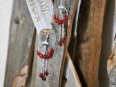 Red Beaded Hoop Dangle Style Earrings