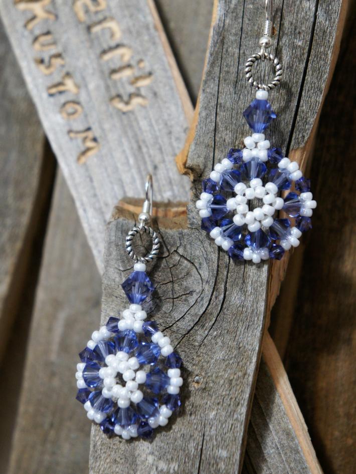 Bead Woven Pattern Dangle Earrings