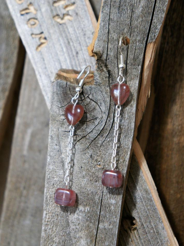 Heart and Chain Dangle Style Earrings