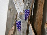 Pink and Blue Patterned Dangle Style Earrings