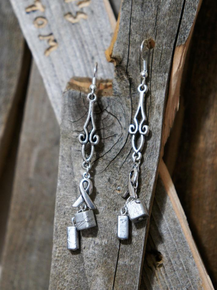 Awareness Ribbon with Silver Beads Dangle Earrings