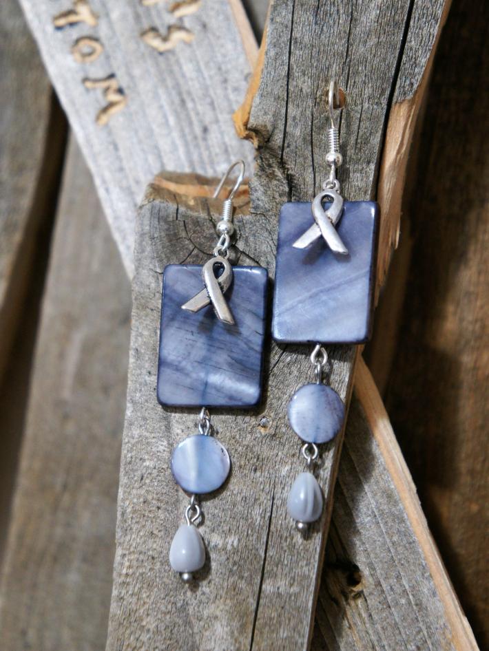 Awareness Ribbon with Grey Beads Dangle Earrings