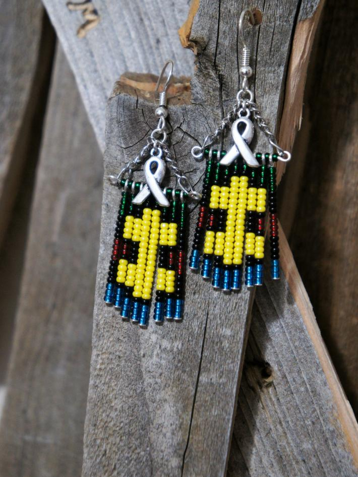 Awareness Ribbon with Puzzle Piece Patterned Dangle Earrings