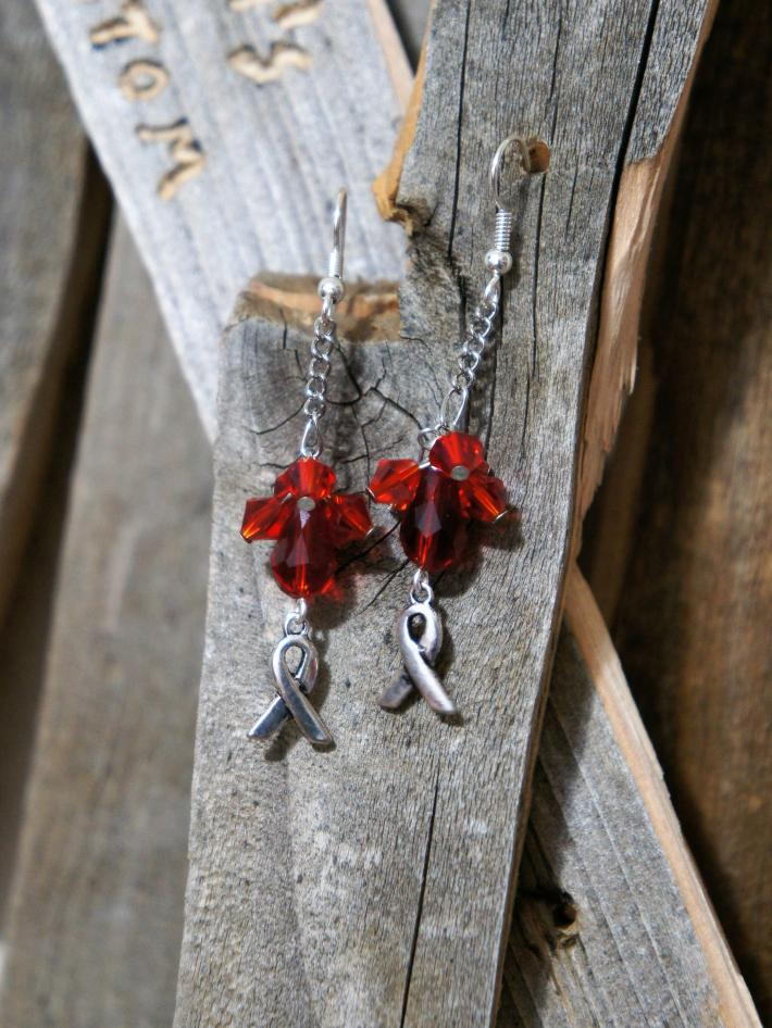 Awareness Ribbon with Red Beads Dangle Earrings