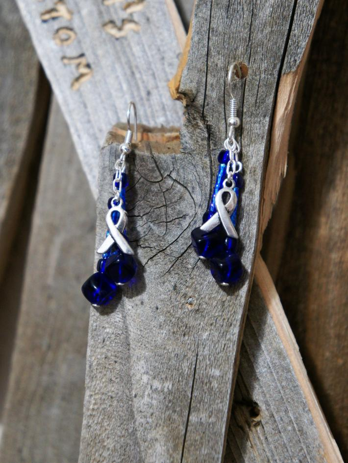 Awareness Ribbon with Indigo Beads Dangle Earrings