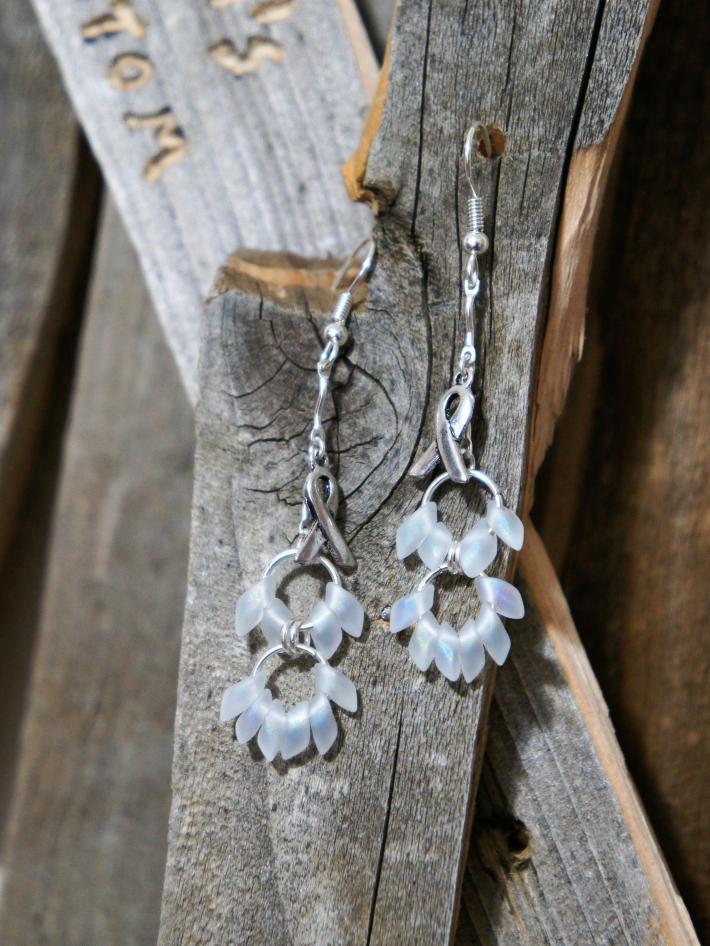 Awareness Ribbon with White Beads Dangle Earrings