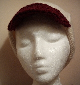 Cream and wine brimmed cap