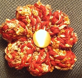 Red and gold flower hair clip