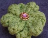 Bright green flower hair clip