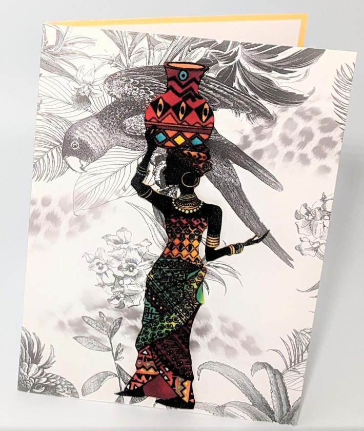 African Woman Tropical Bird Greeting Card