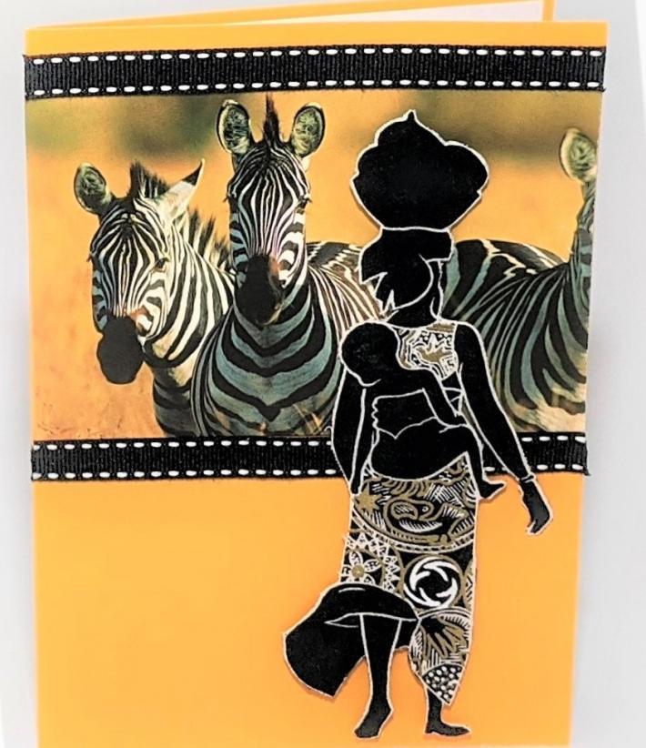 African Woman Child Giraffes Greeting Card