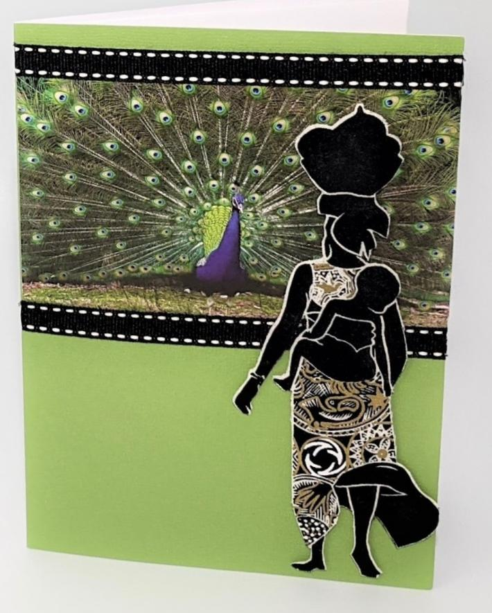 African Woman Child Peacock Greeting Card
