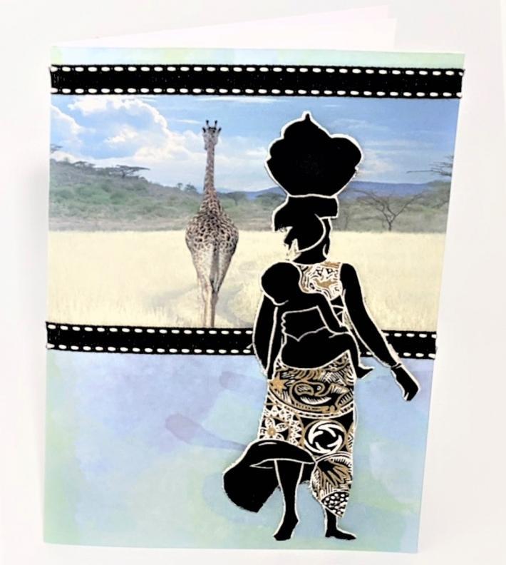African Woman Child Giraffe Greeting Card