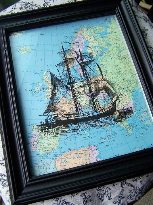 Nautical art on vintage, upcycled atlas pages; by Winterberry Cottage
