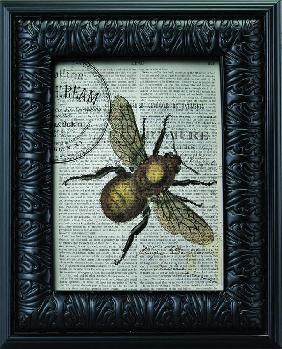 Steampunk bee print on vintage paper - Winterberry Cottage
