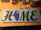 HOME Illinois Cubs Wood Painting