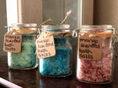 Homemade scented bath salts in 4 oz  and less containers