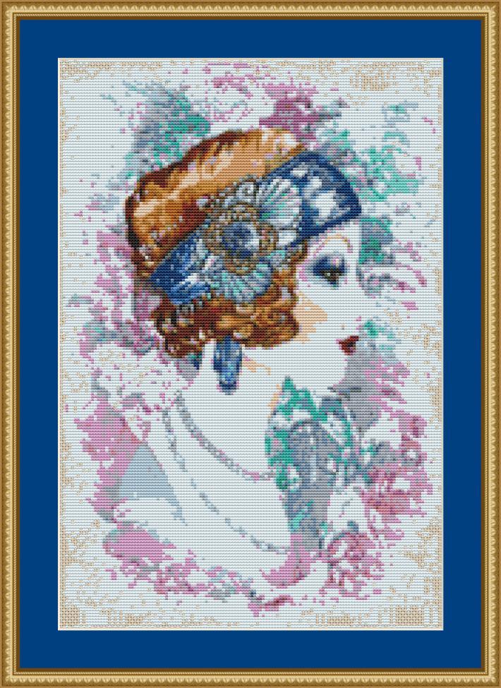 Art Deco Lady Cross Stitch Pattern