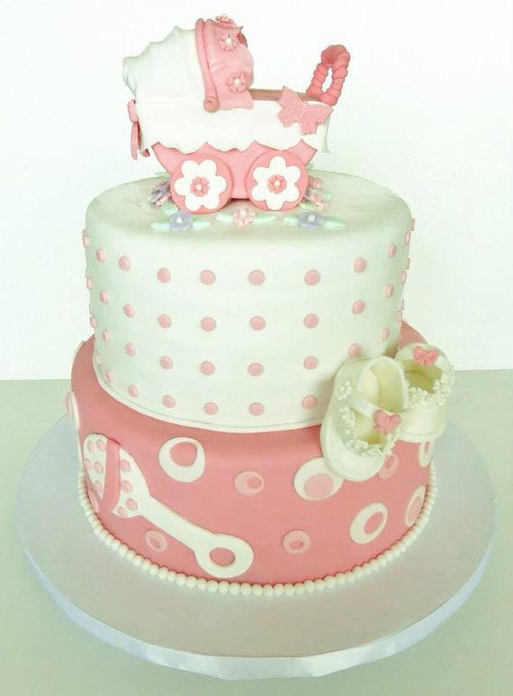 Fondant Baby Stroller Cake Topper Perfect for Baby Shower  Christening or First Birthday