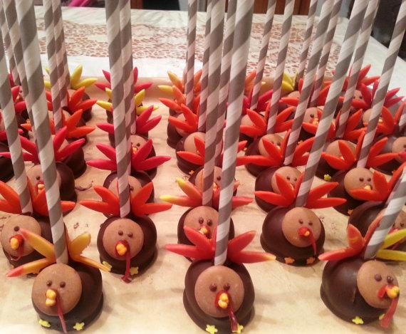 A Dozen Thanksgiving Turkey Cake Pops