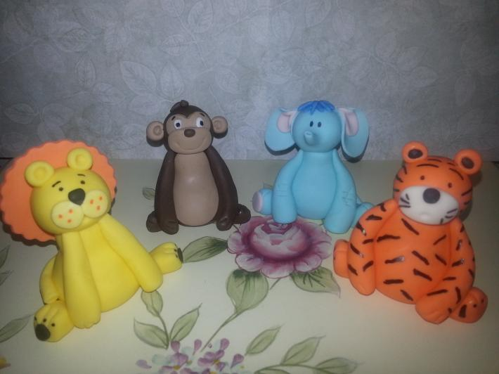 Set of 4 3Inches Fondant Safari Animals Cake Toppers