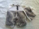 Gray and White Baby Vest Set