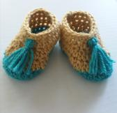 Beige Baby Moccasins with Turquoise Tassels