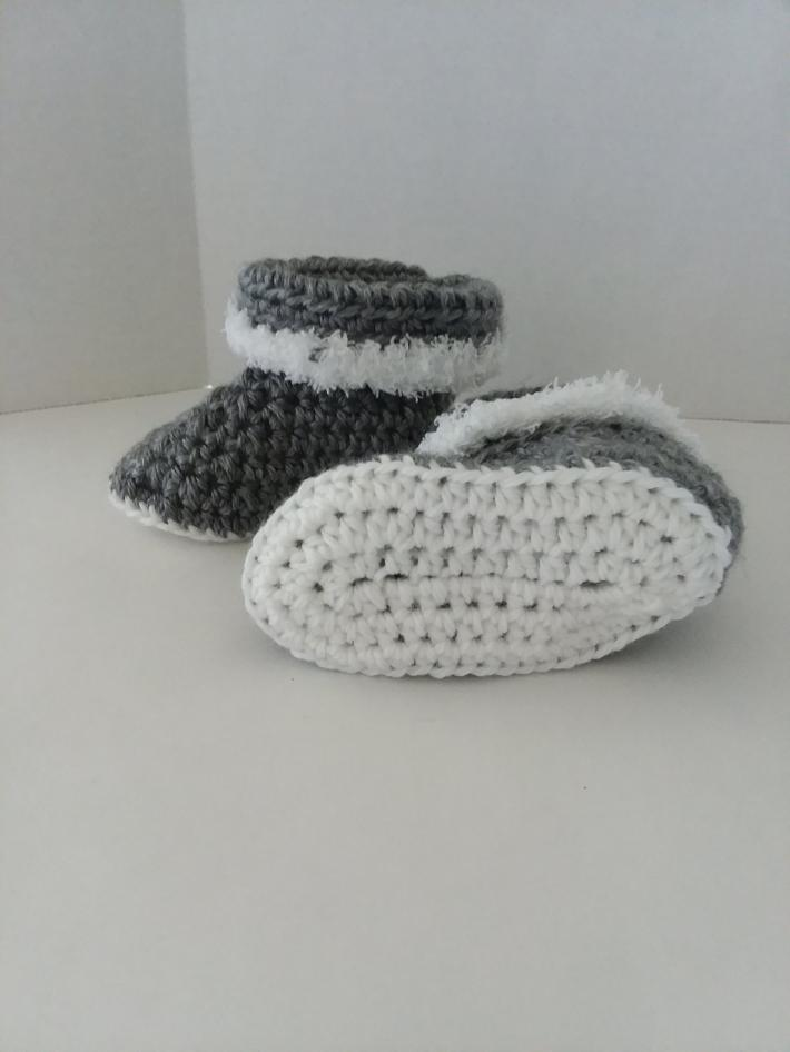 Gray Cuffed Baby Boots