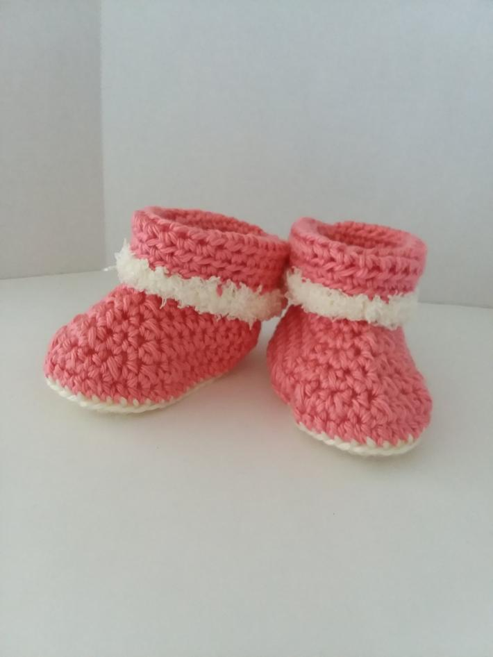 Pink Cuffed Boots with Fur Size 6 to12 Months