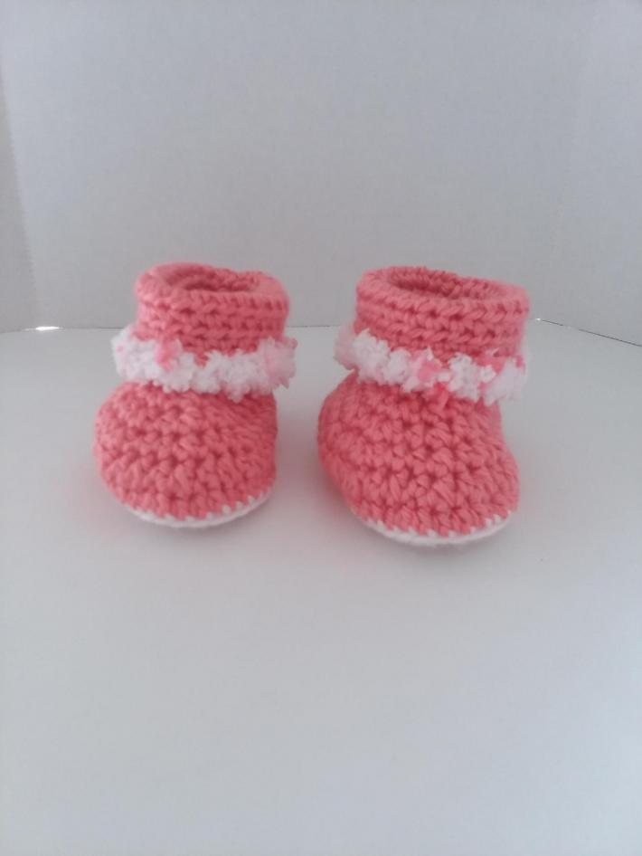 Pink Cuffed Boots with Fur Size 3 to 6 Months