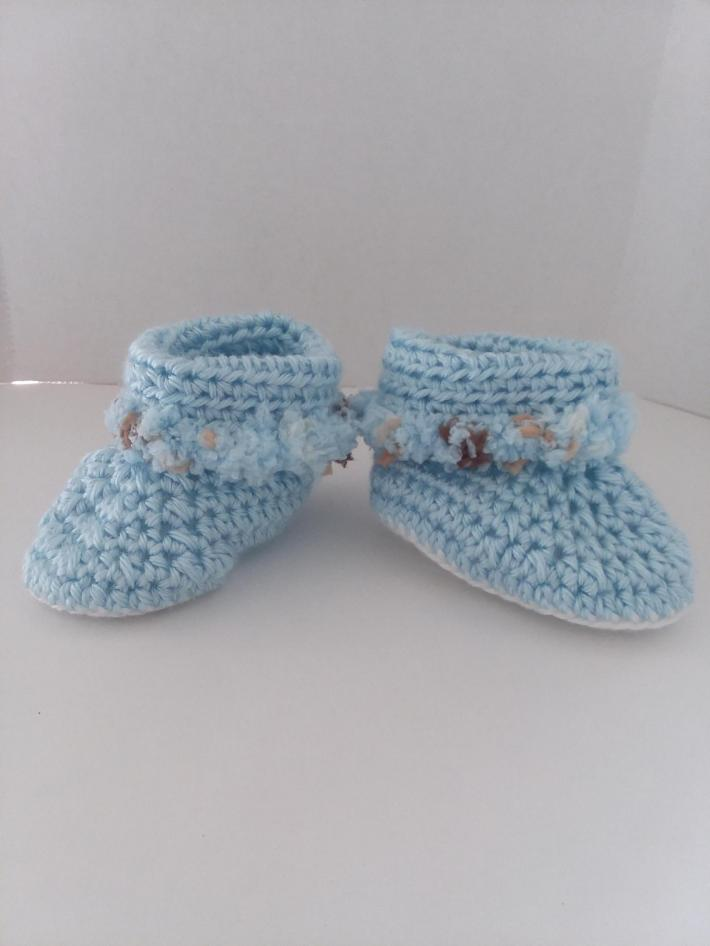 Light Blue Cuffed Baby Boots