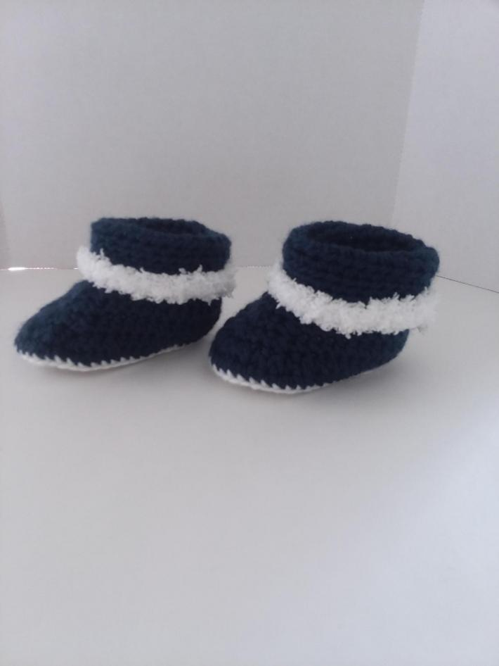 Navy Cuffed Baby Boots